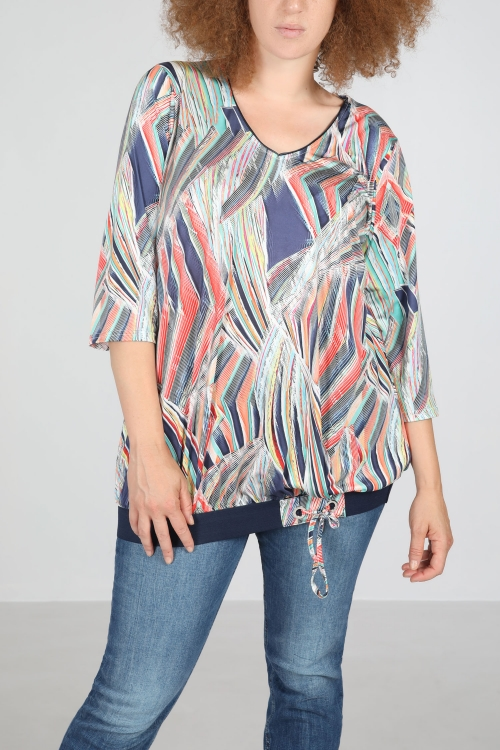 Printed top with low elastic