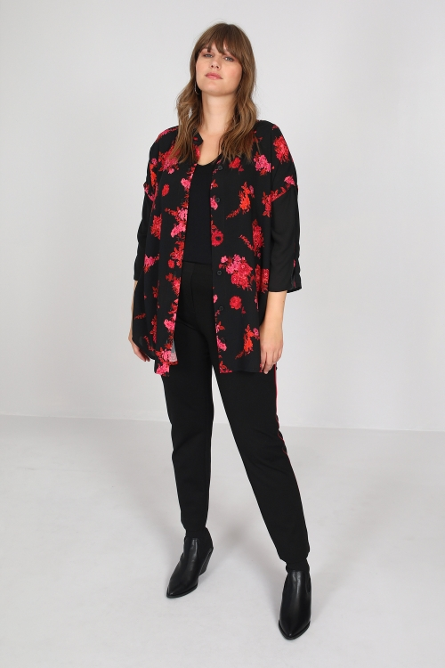Long printed Fibranne shirt