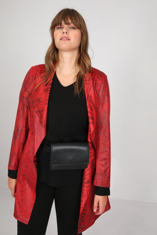 Animal print faux leather jacket