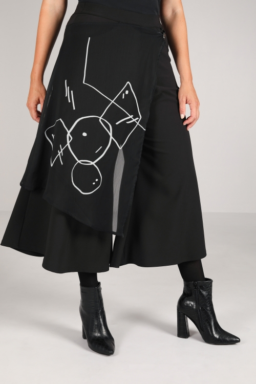 Bi-Stretch panties skirt with veil