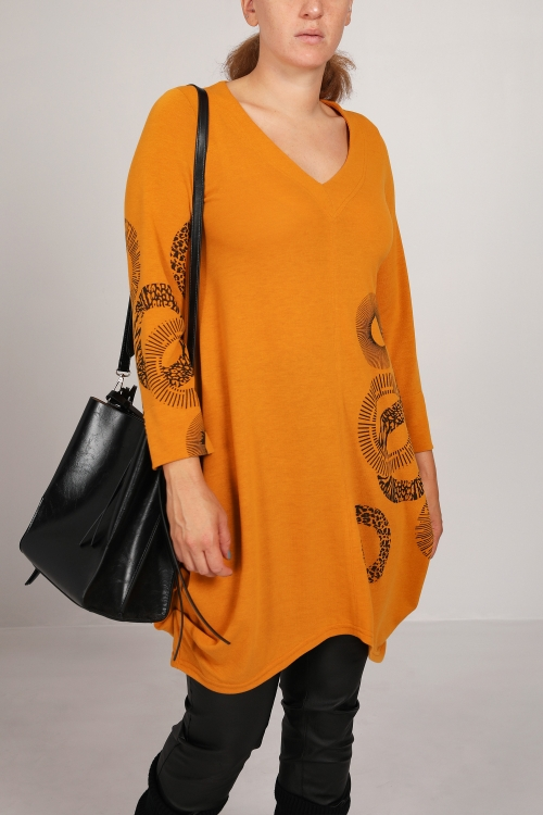 Screenprinted knit tunic