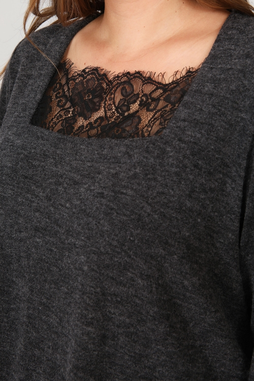 Fine mesh top and lace