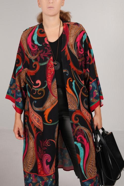 Cashmere printed kimono