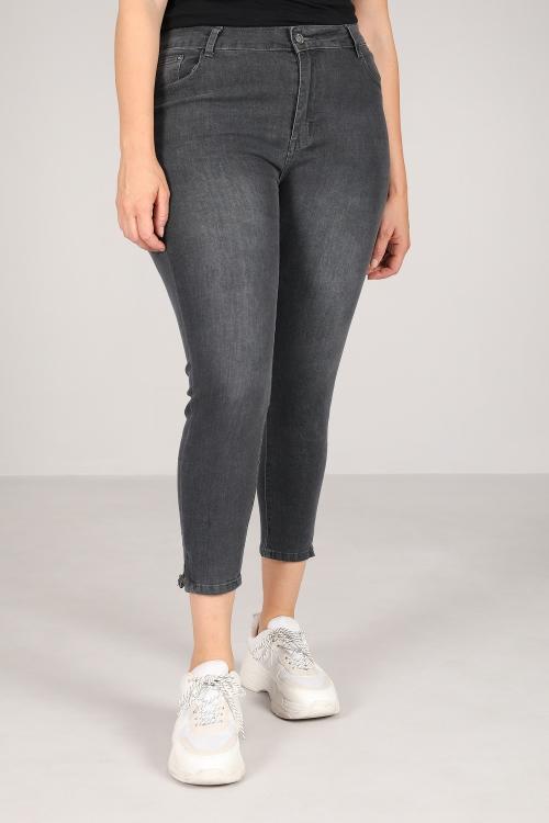 Gray slim jeans 7 / 8th zipped