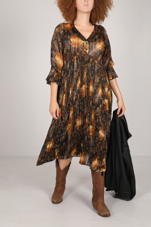Long printed dress with pleated (Delivery D + 15 after order)