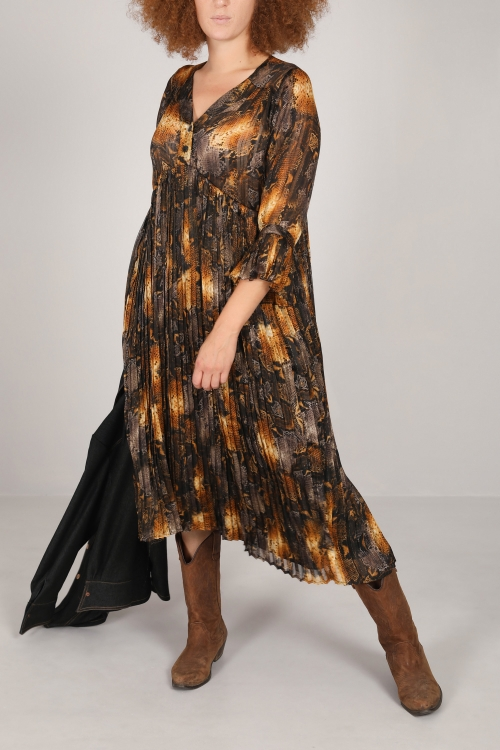 Long printed dress with pleated (Delivery 25 oct.)