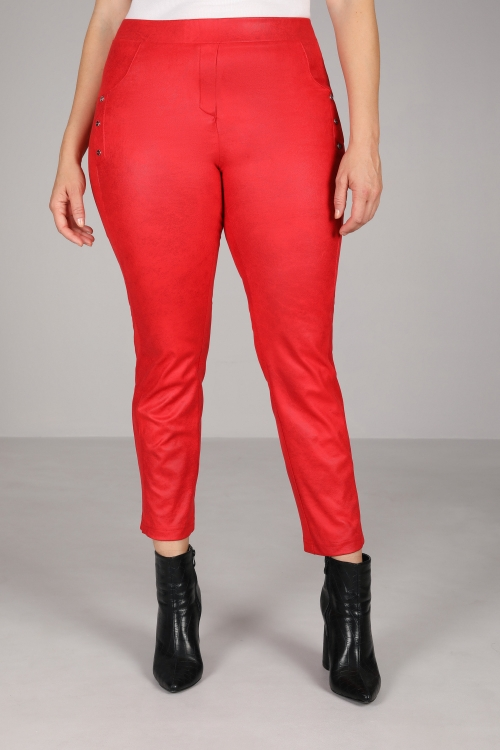 Leatherette straight pants