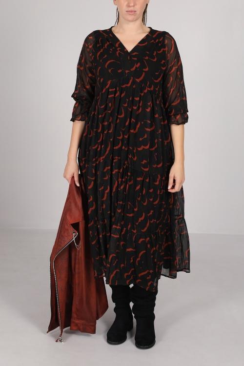 Printed long dress with ruffles