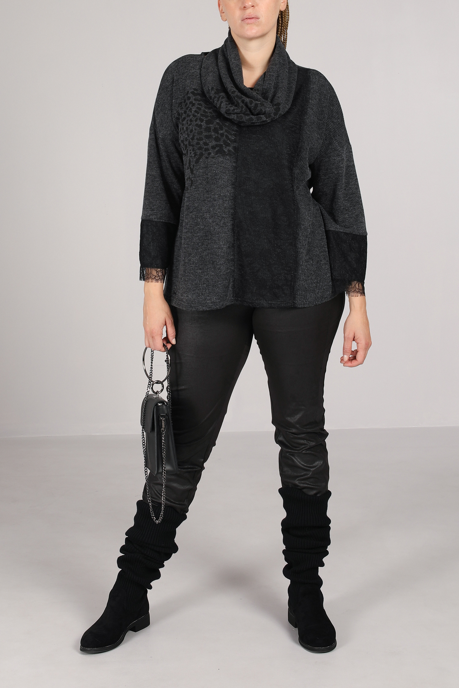 Heather and lace knit sweater