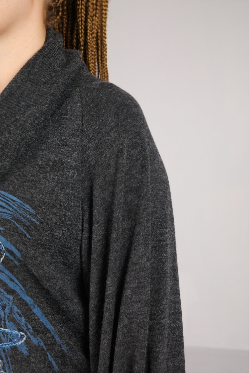 Mesh knit sweater with silkscreen