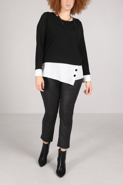 Fine knit sweater with poplin