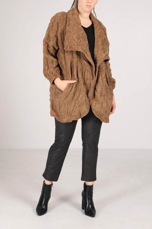 Jacket 7/8 wrinkled effect