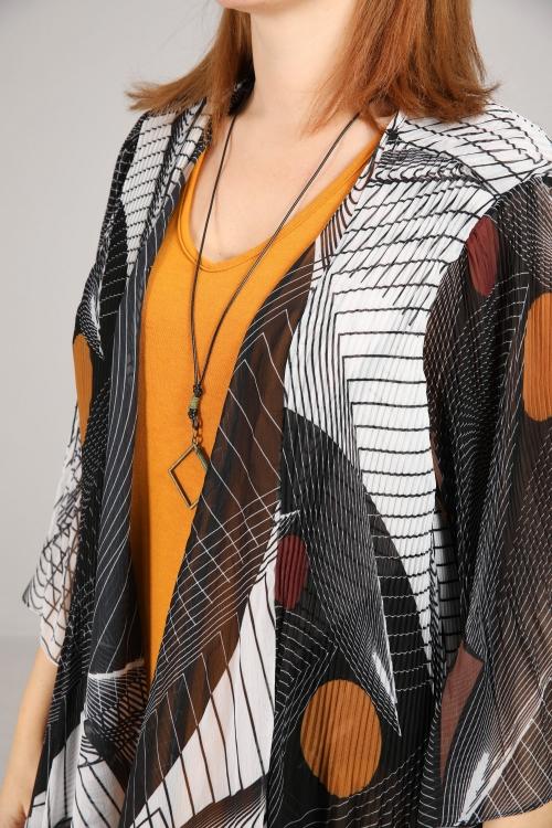 Veste en voile imprimé plissée