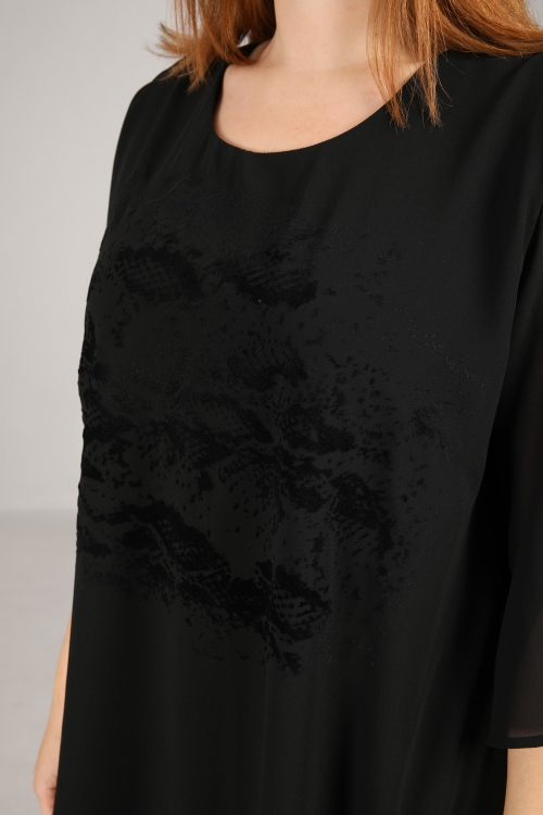 Tunic in asymmetric plain voile