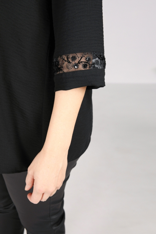 Mesh and sequined braided top
