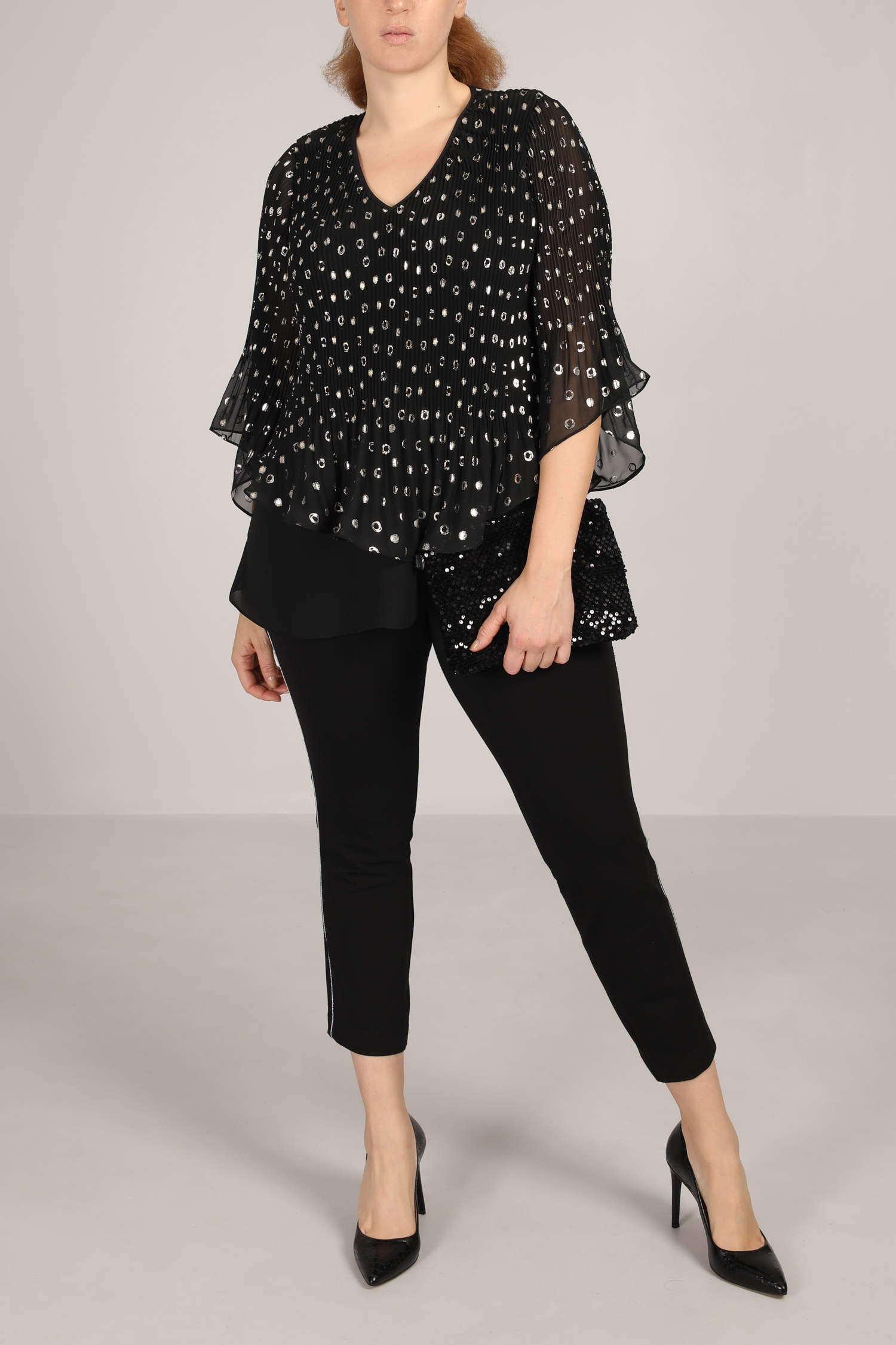 Lined top with printed ruffles