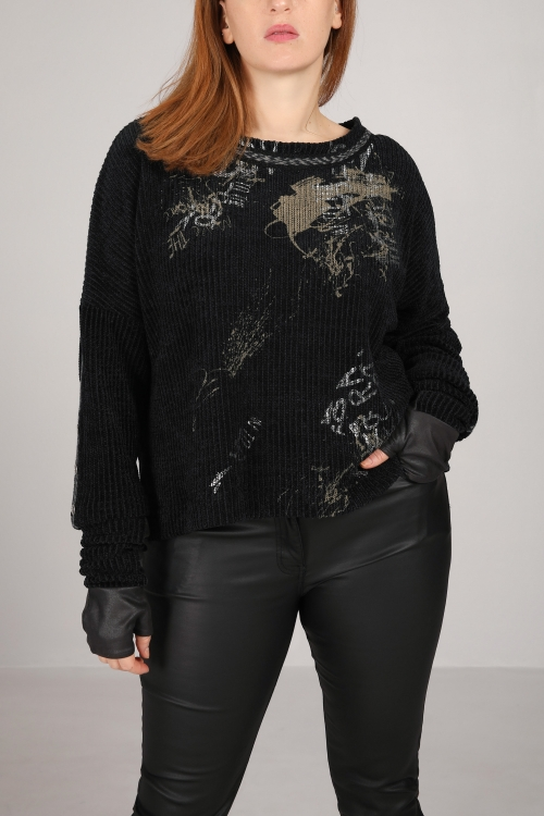 Chenille sweater with screen printing