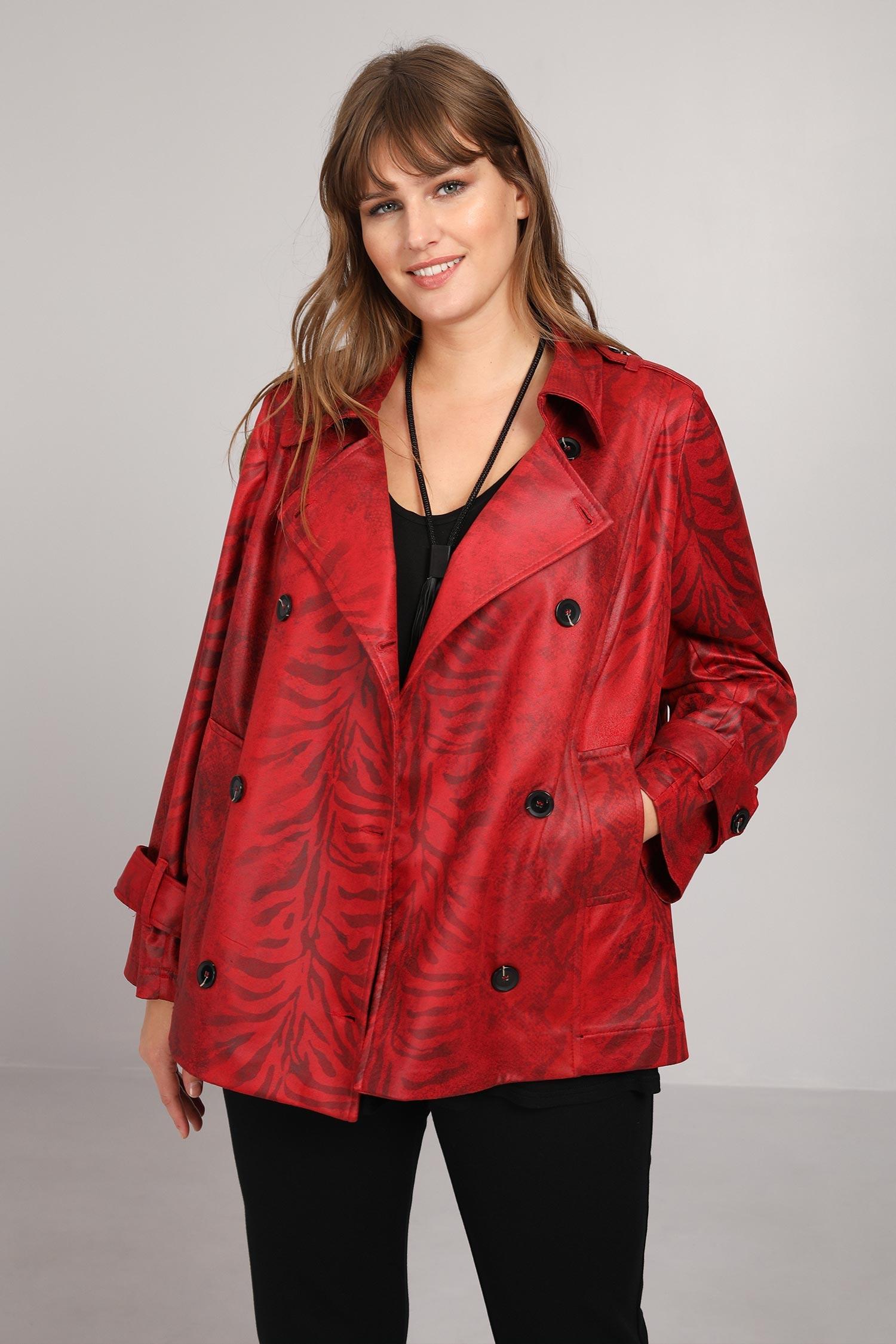 Zebra print faux leather jacket
