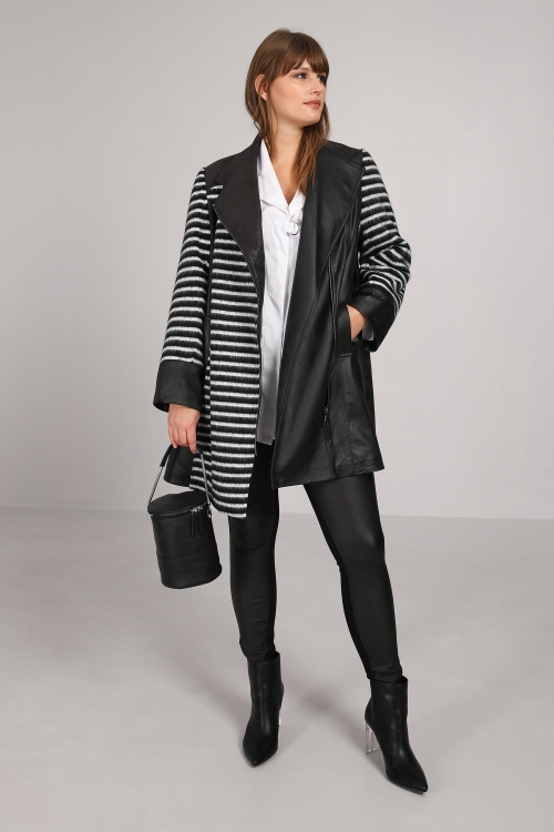 Biker coat in wool jacquard