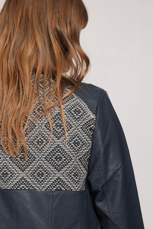 Bi-material leather effect jacket