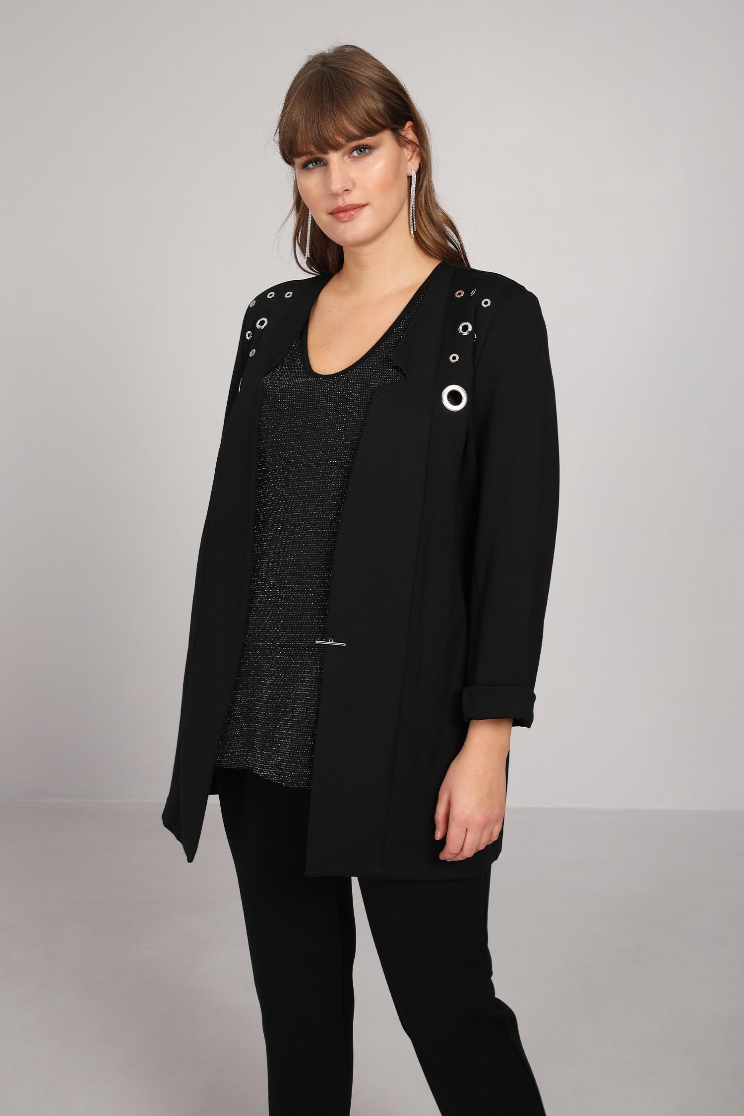 Plain collar jacket with eyelets