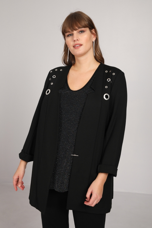 Plain collar jacket with eyelets
