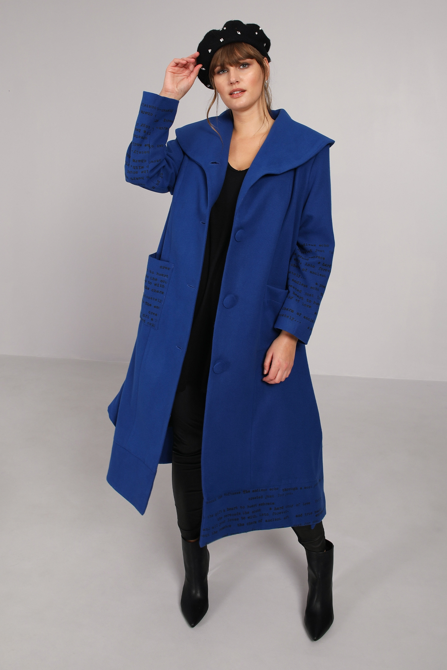 Long coat with screen printing