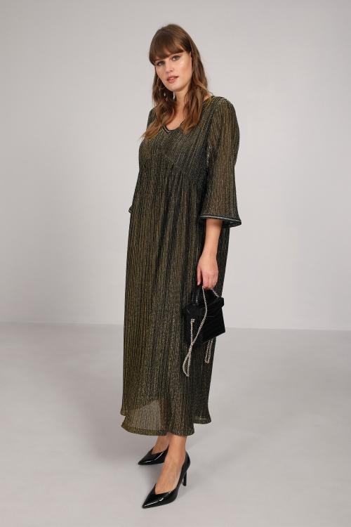 Long pleated dress in bronze