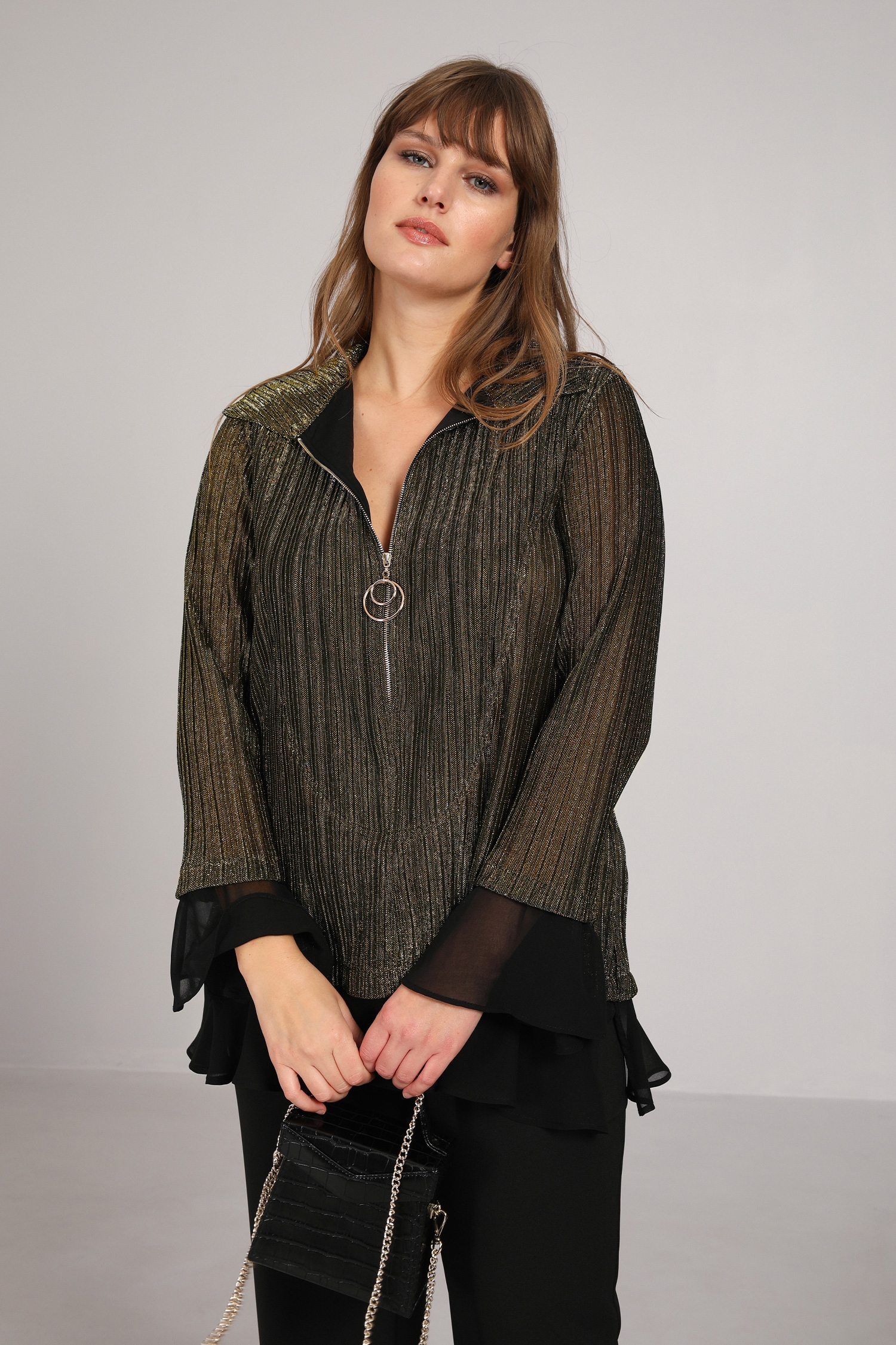 Gold pleated blouse with voile panels