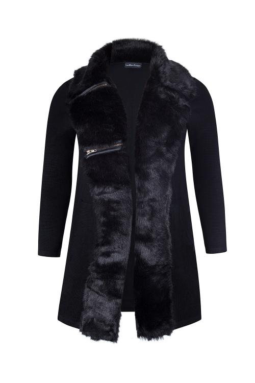 Manteau au col fausse fourrure