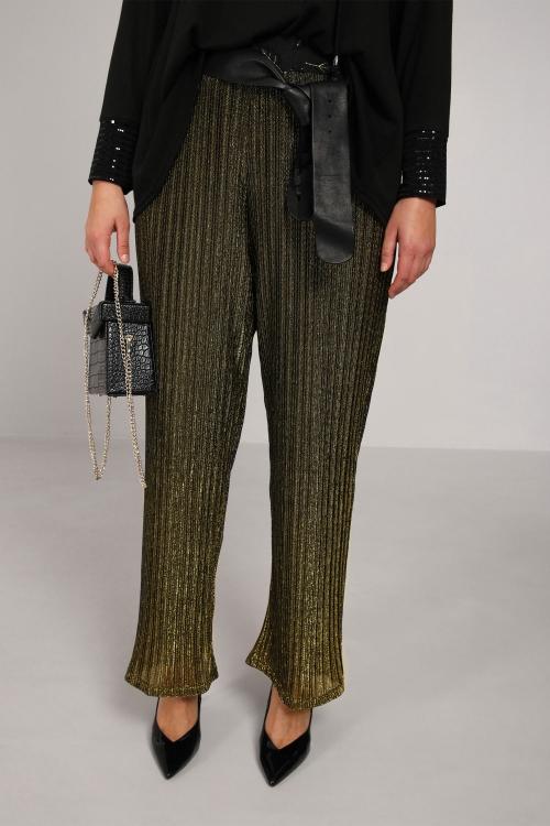 Golden pleated pants