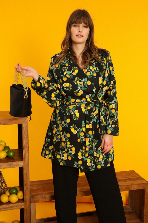 Lemon print trench coat
