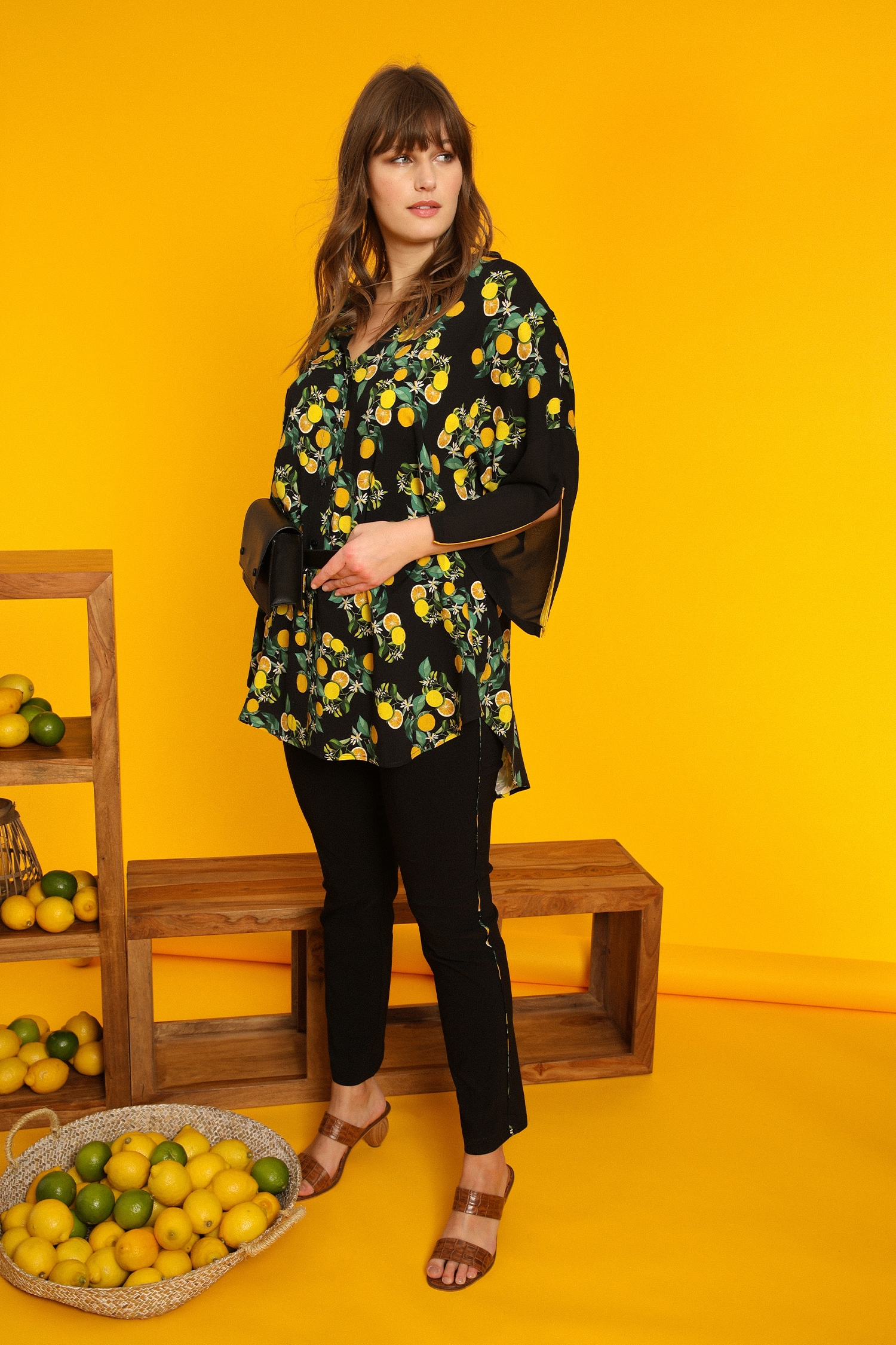 Lemon print long shirt