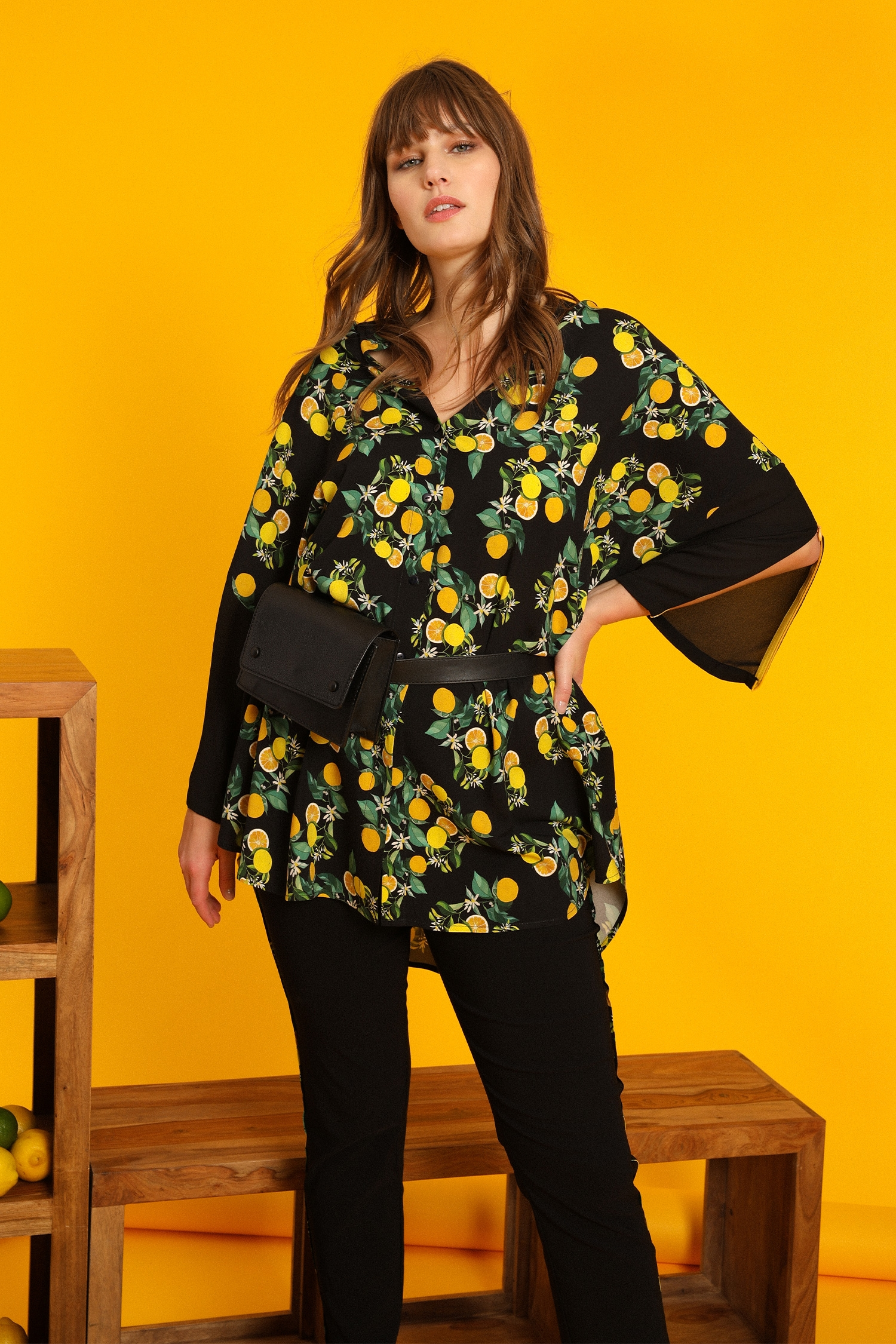Lemon print long shirt