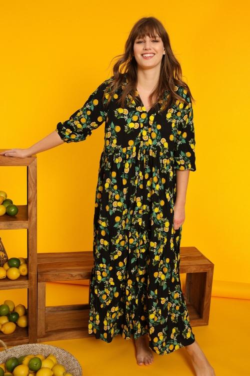 Lemon-print viscose dress