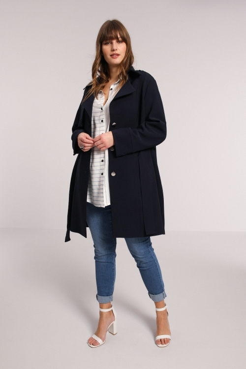 Plain bistrech trench coat with pleats