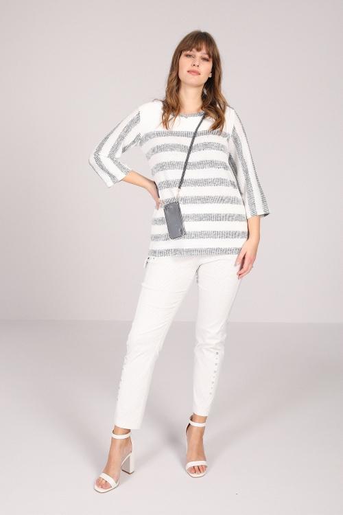 striped bi-material sweater
