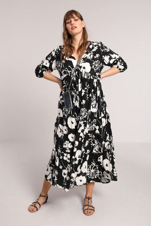 Black / white flower-print viscose dress
