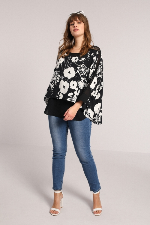 Overlay printed blouse