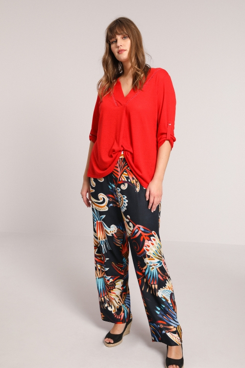 Fluid printed pants