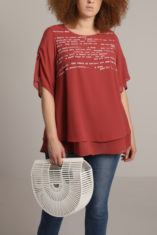 Double blouse with screen printing
