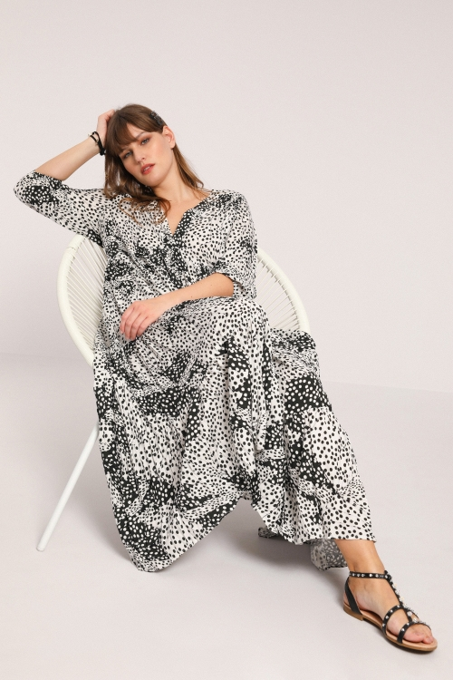 Printed viscose dress with frills
