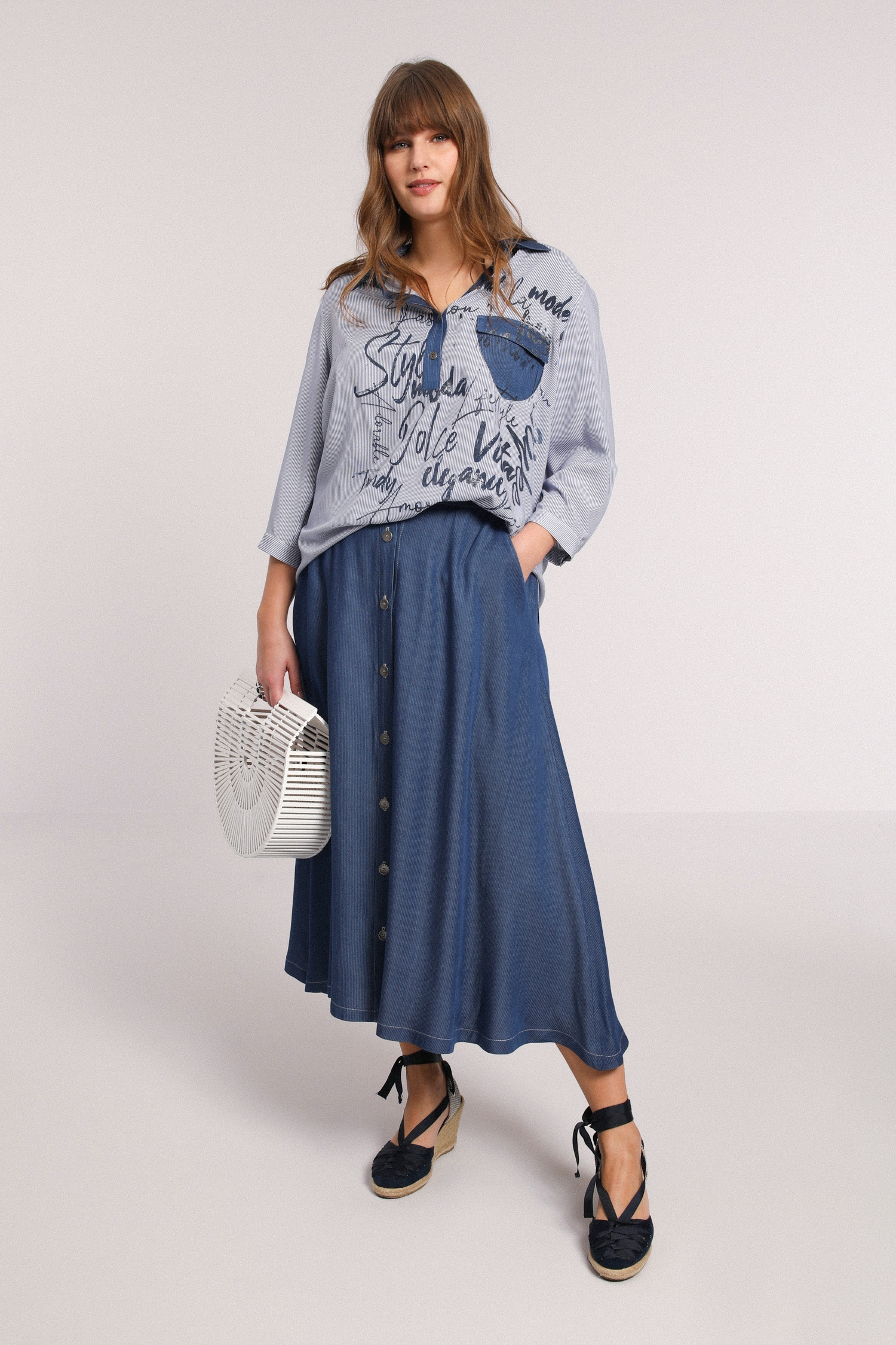 Long striped tencel skirt