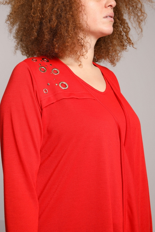 Fluid cardigan with eyelets