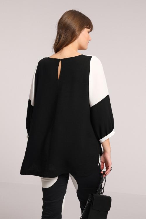Navy / white crepe blouse