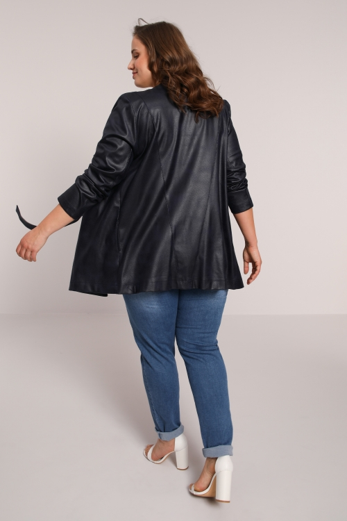 Straight faux leather jacket with snap