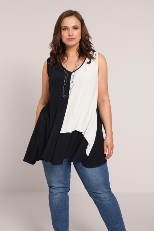 Two-tone flared tank top