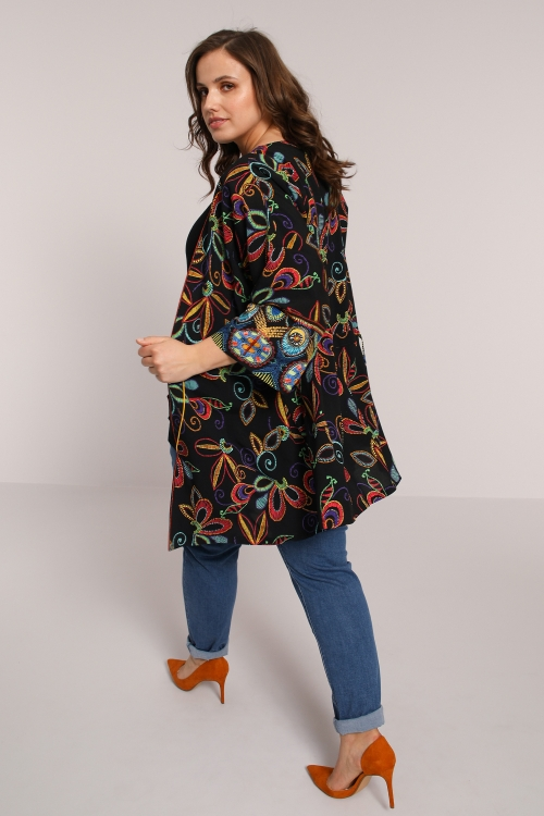 Printed fibran kimono jacket