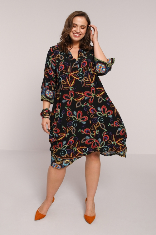 Long printed tunic with pleats