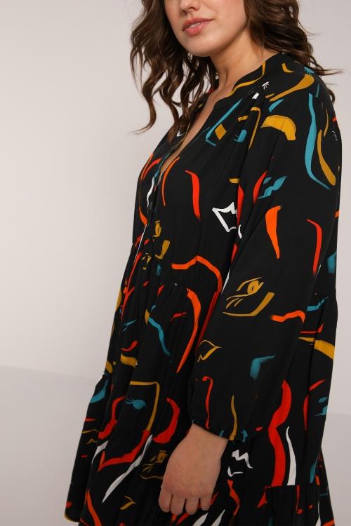 Printed and flounced tunic / dress